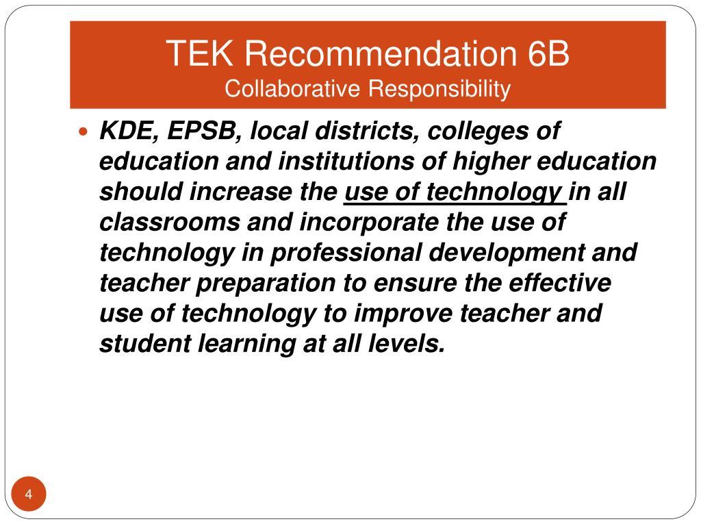 TEK Recommendation 6B