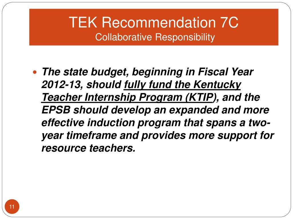 TEK Recommendation 7C