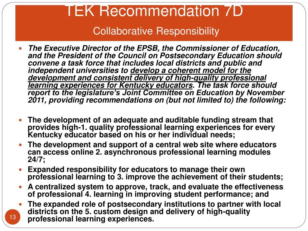 TEK Recommendation 7D
