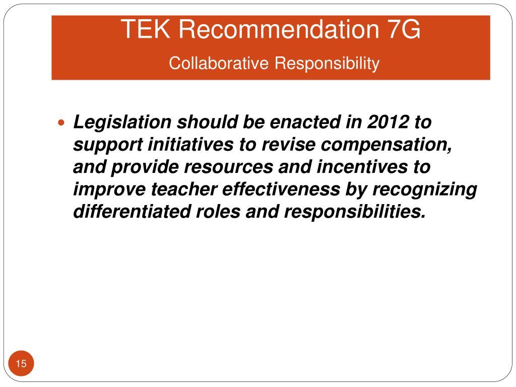 TEK Recommendation 7G