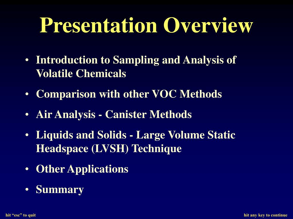 Introduction to Sampling and Analysis of Volatile Chemicals