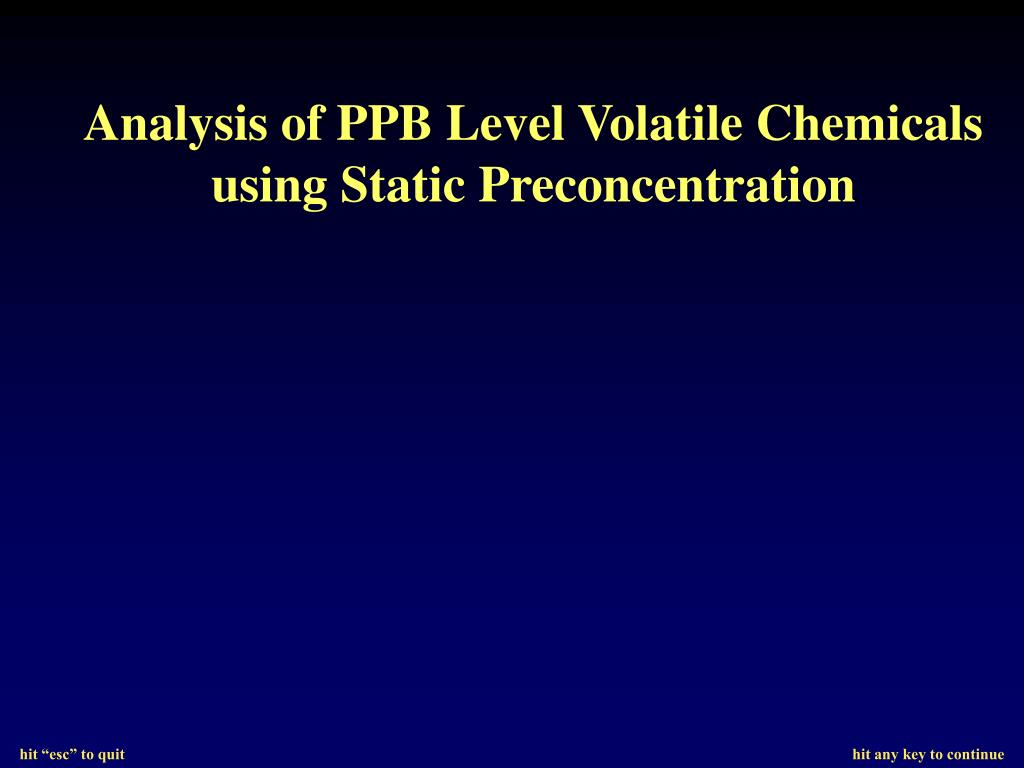 Analysis of PPB Level Volatile Chemicals using Static Preconcentration