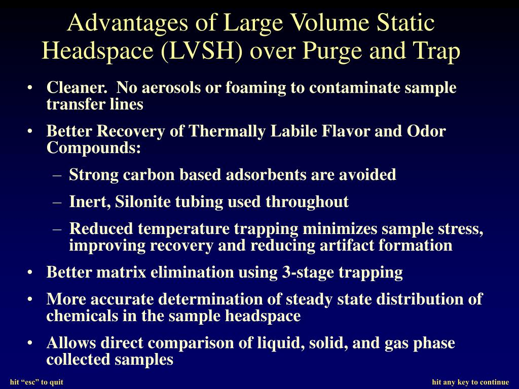 Advantages of Large Volume Static Headspace (LVSH) over Purge and Trap