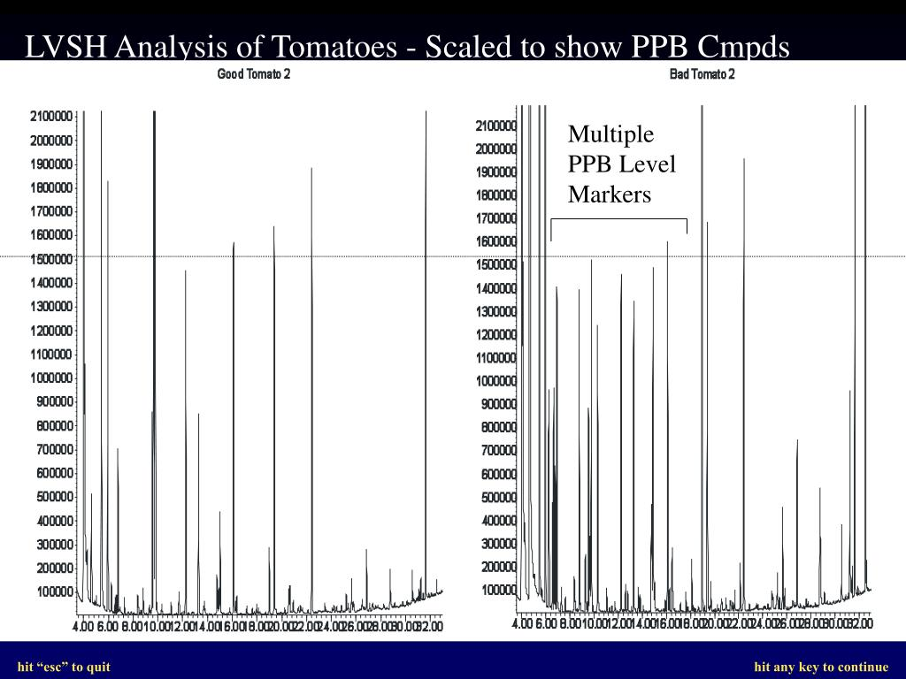 LVSH Analysis of Tomatoes - Scaled to show PPB Cmpds