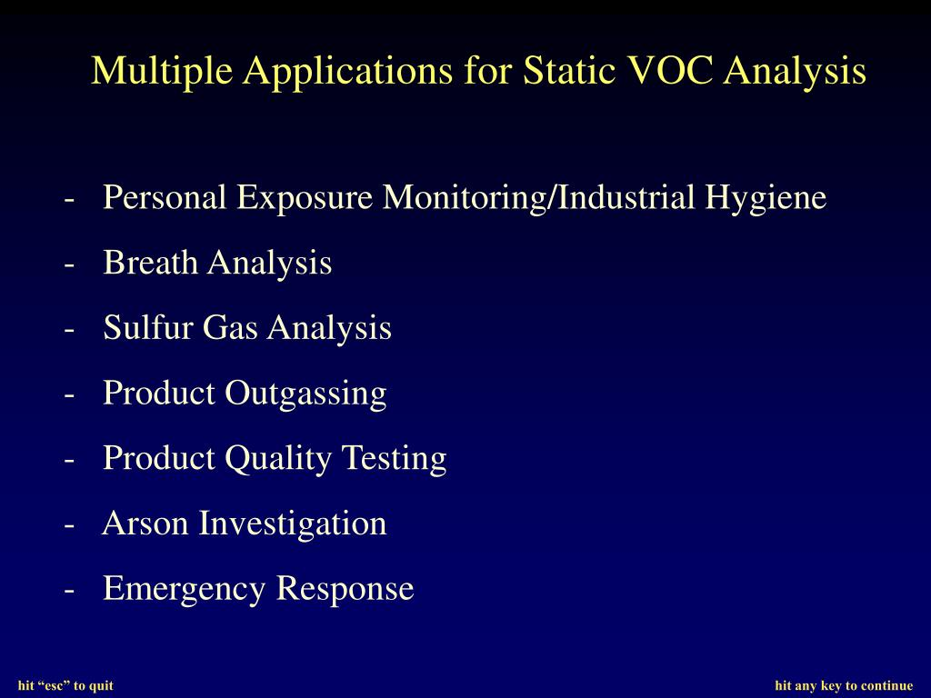Multiple Applications for Static VOC Analysis