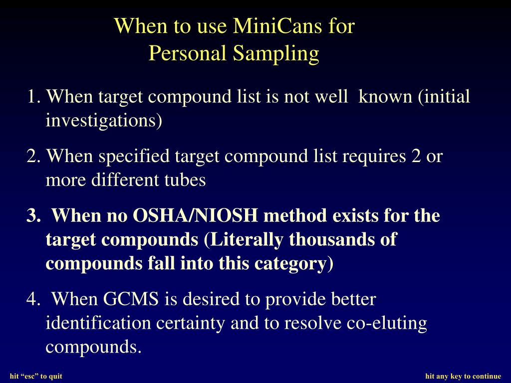 1. When target compound list is not well  known (initial investigations)