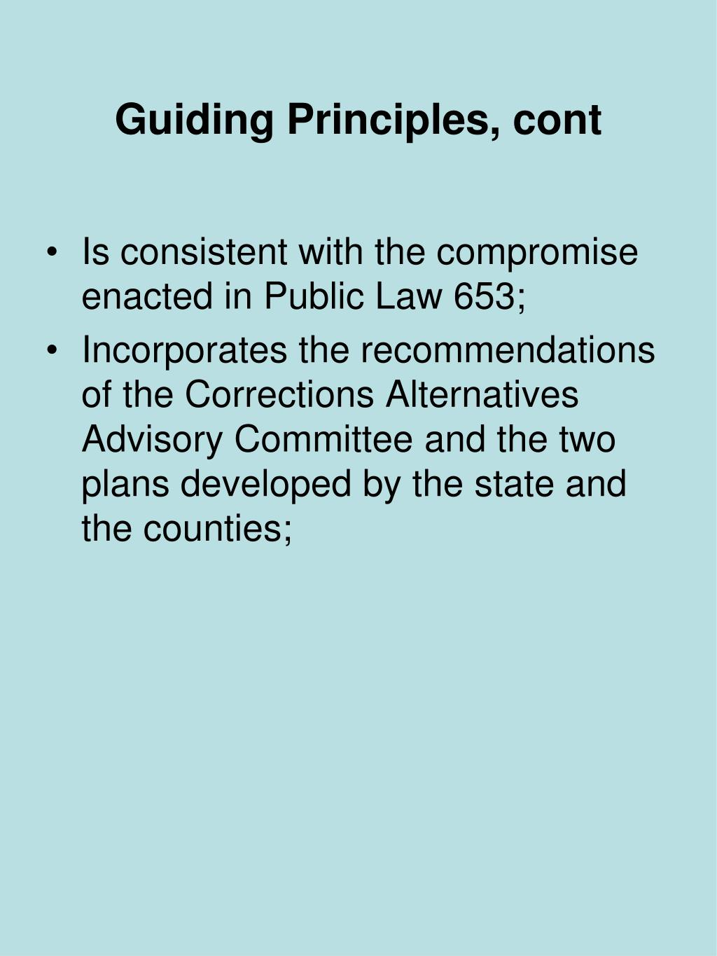Guiding Principles, cont