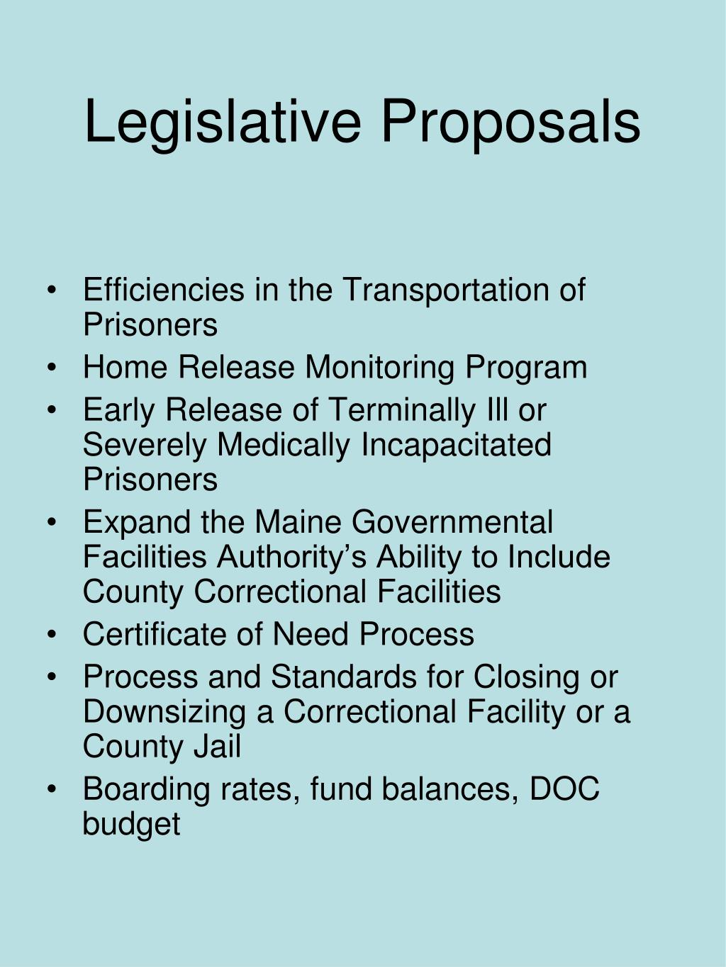 Legislative Proposals