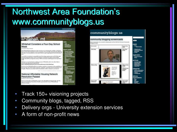 Northwest Area Foundation's                 www.communityblogs.us