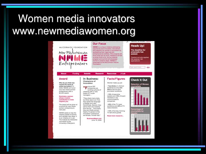 Women media innovators www.newmediawomen.org
