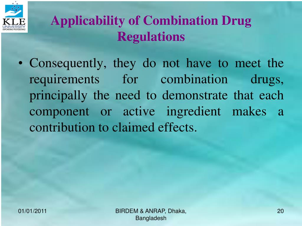 Applicability of Combination Drug Regulations