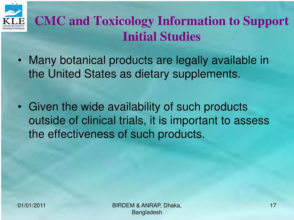 CMC and Toxicology Information to Support Initial Studies