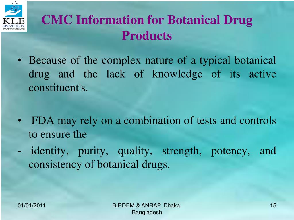 CMC Information for Botanical Drug Products