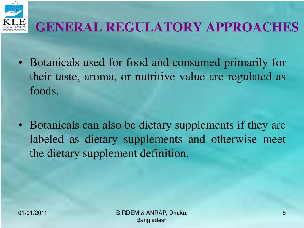 GENERAL REGULATORY APPROACHES