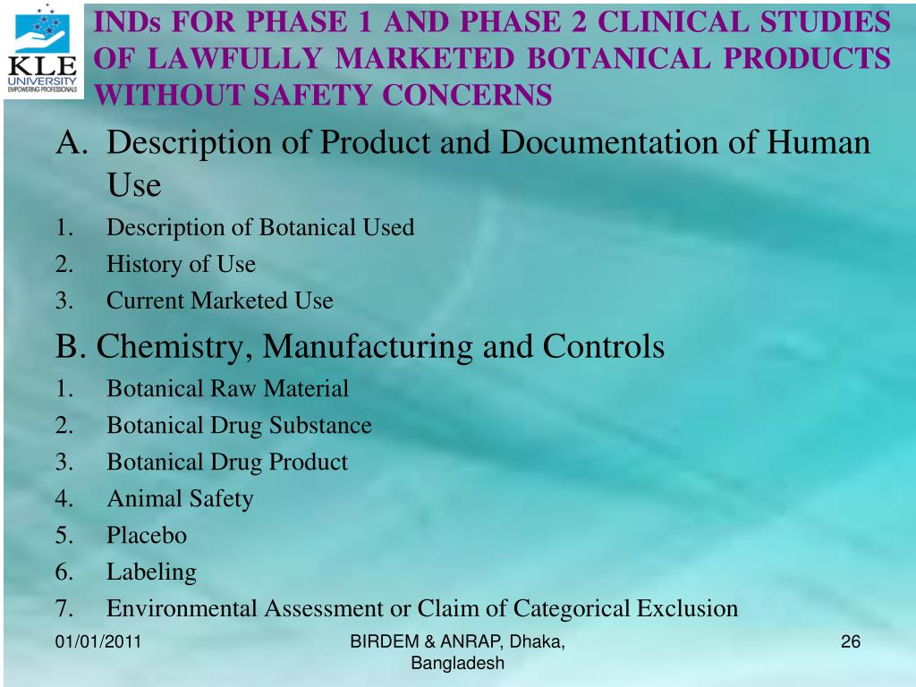 INDs FOR PHASE 1 AND PHASE 2 CLINICAL STUDIES OF LAWFULLY MARKETED BOTANICAL PRODUCTS WITHOUT SAFETY CONCERNS