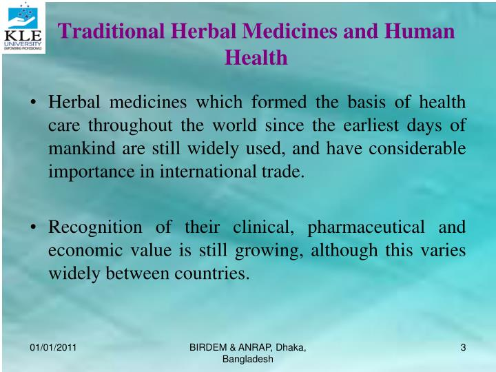 Traditional herbal medicines and human health l.jpg
