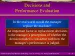 decisions and performance evaluation43