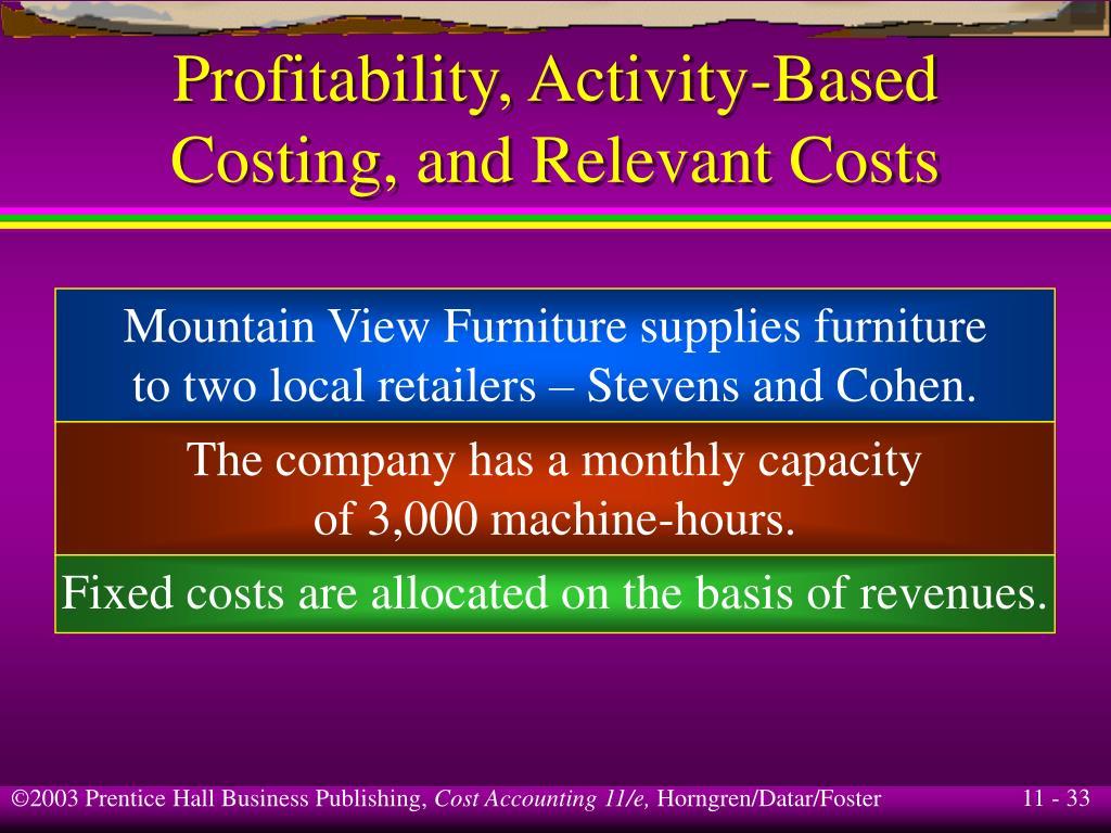 Profitability, Activity-Based
