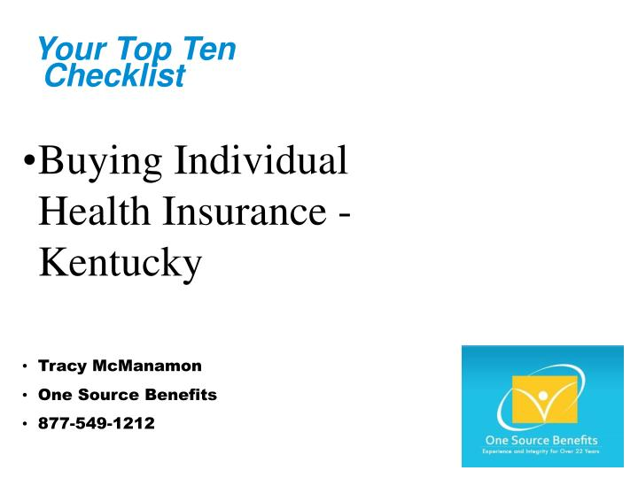 Your top ten checklist