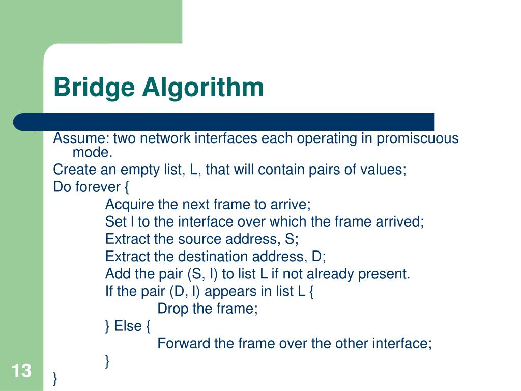 Bridge Algorithm