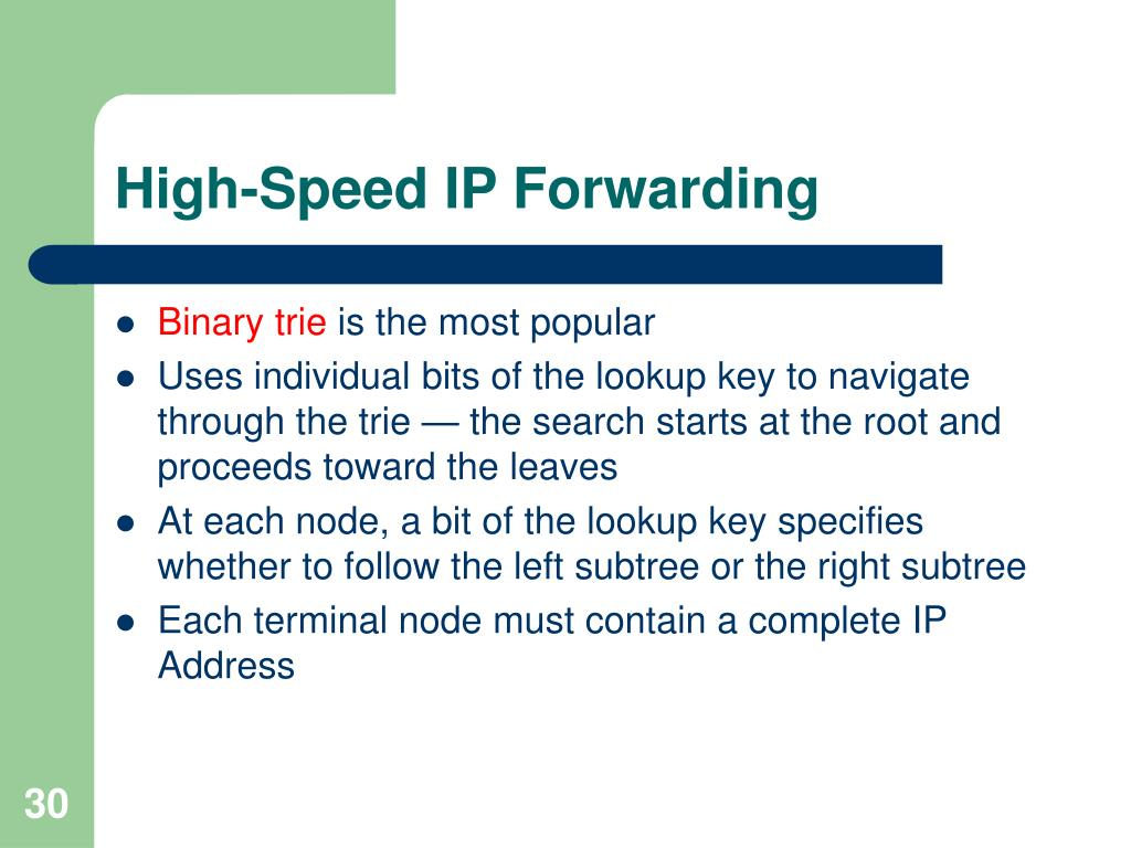 High-Speed IP Forwarding