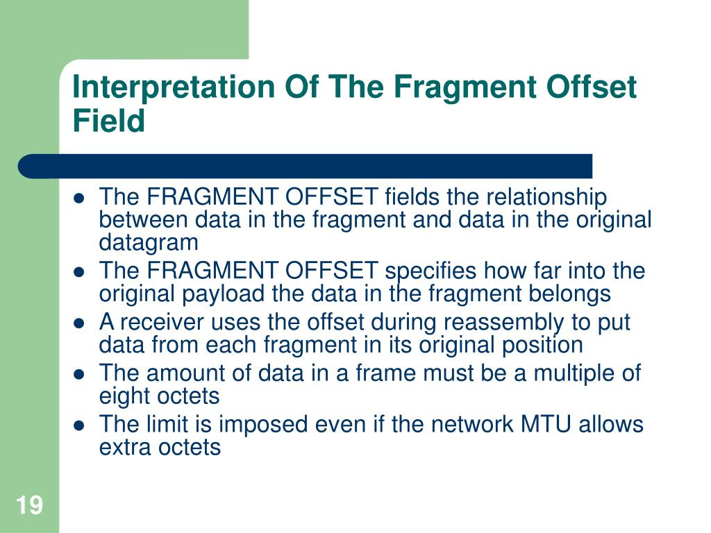 Interpretation Of The Fragment Offset Field