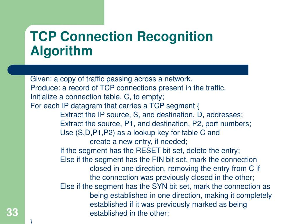 TCP Connection Recognition Algorithm