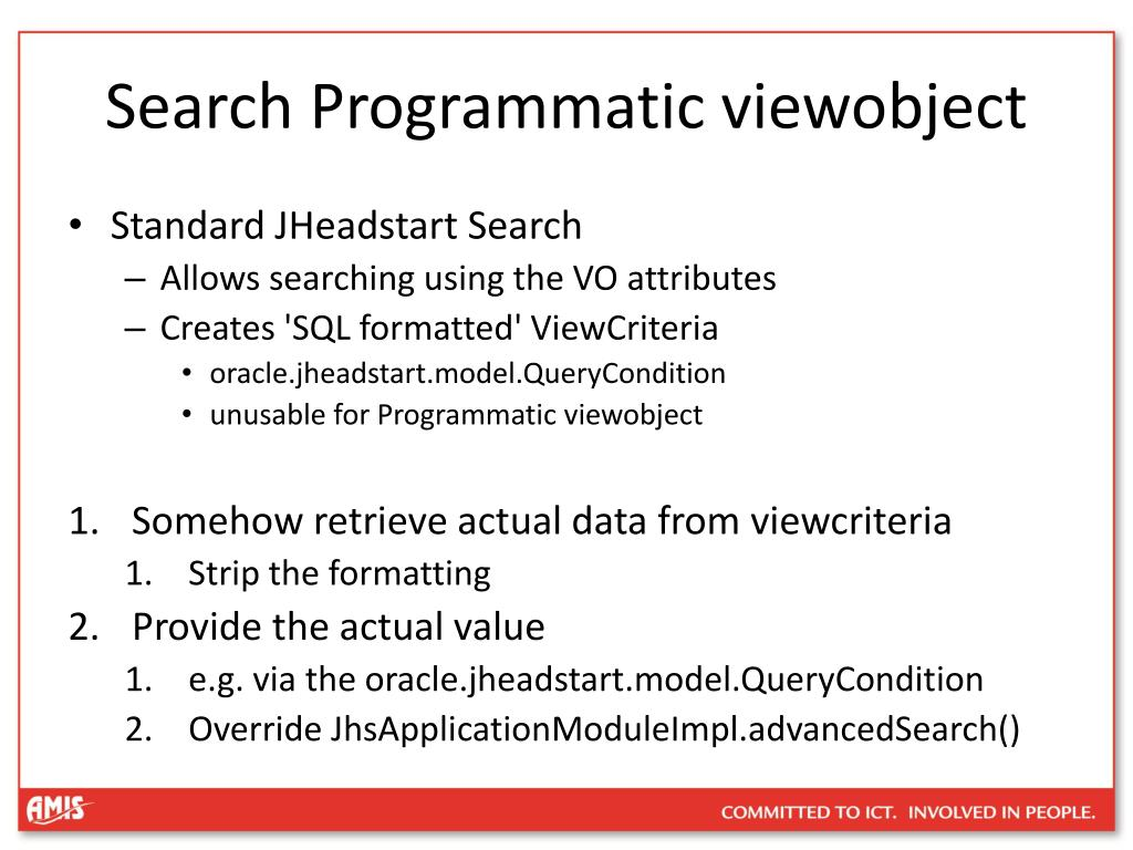 Search Programmatic viewobject