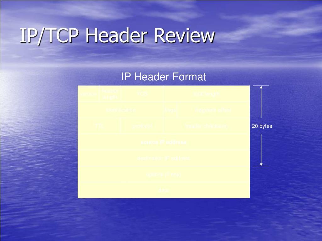 IP/TCP Header Review