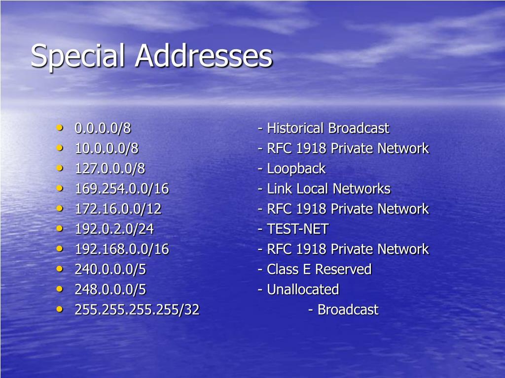 Special Addresses