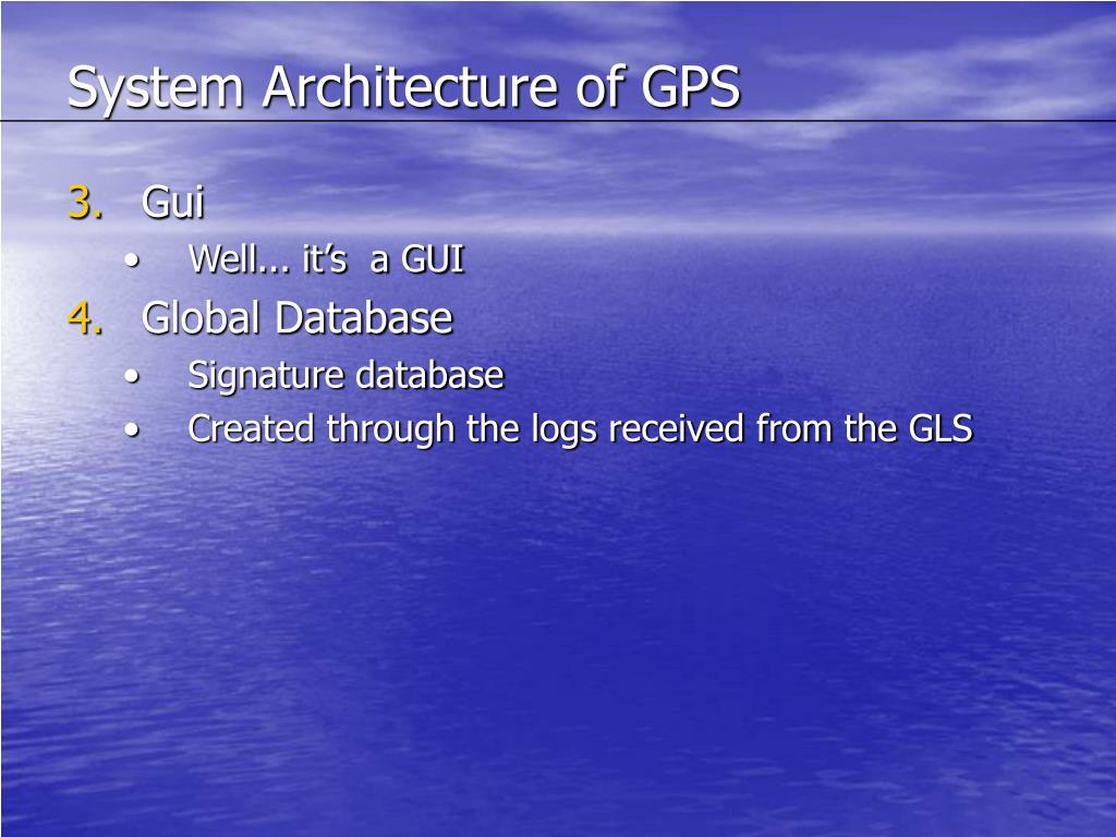 System Architecture of GPS