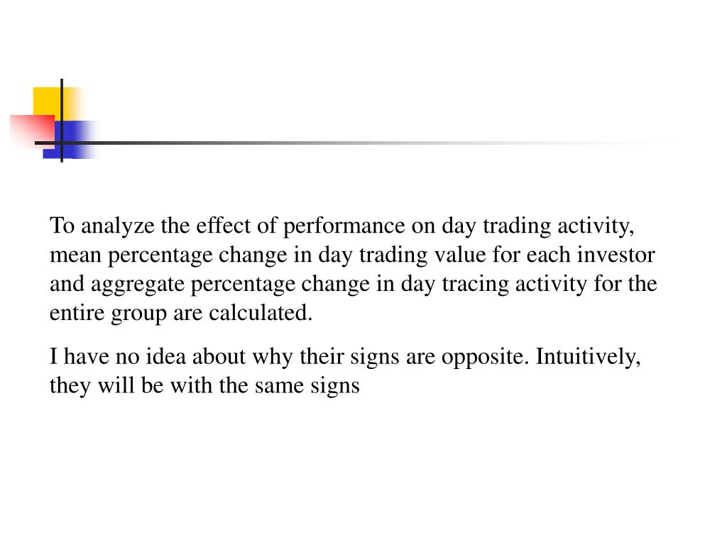 To analyze the effect of performance on day trading activity, mean percentage change in day trading value for each investor and aggregate percentage change in day tracing activity for the entire group are calculated.
