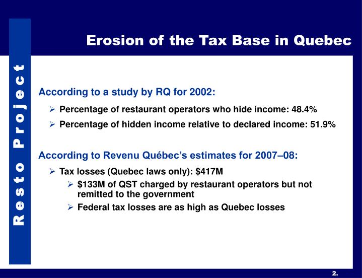 Erosion of the tax base in quebec
