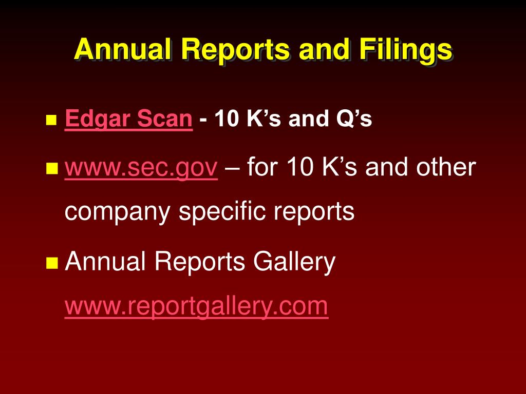 Annual Reports and Filings