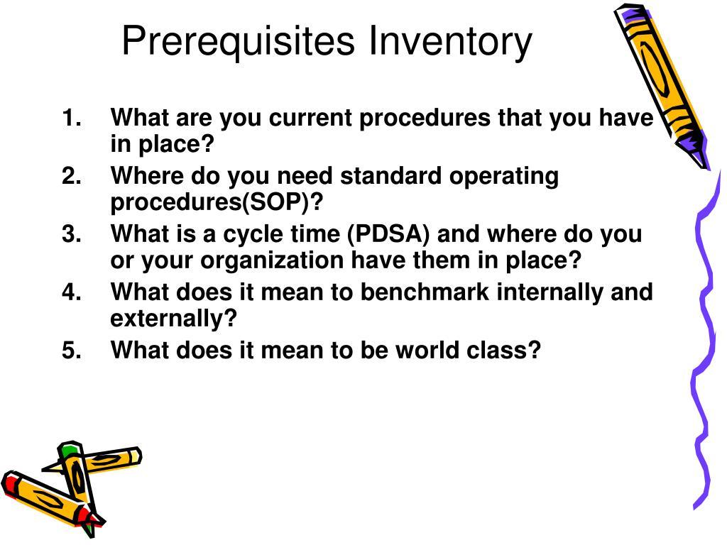 Prerequisites Inventory