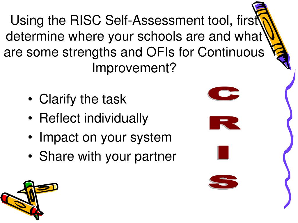 Using the RISC Self-Assessment tool, first determine where your schools are and what are some strengths and OFIs for Continuous Improvement?