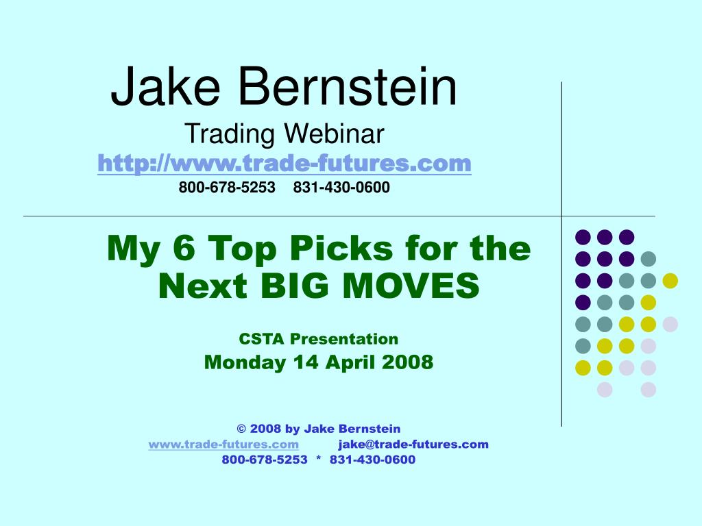 jake bernstein trading webinar http www trade futures com 800 678 5253 831 430 0600