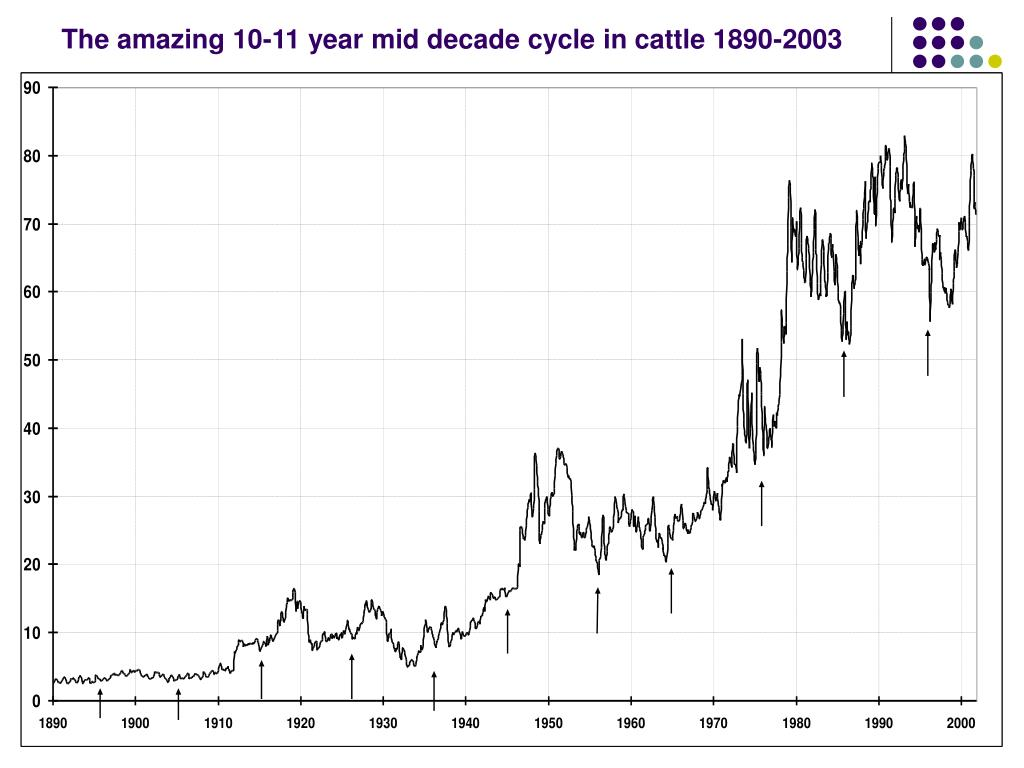 The amazing 10-11 year mid decade cycle in cattle 1890-2003