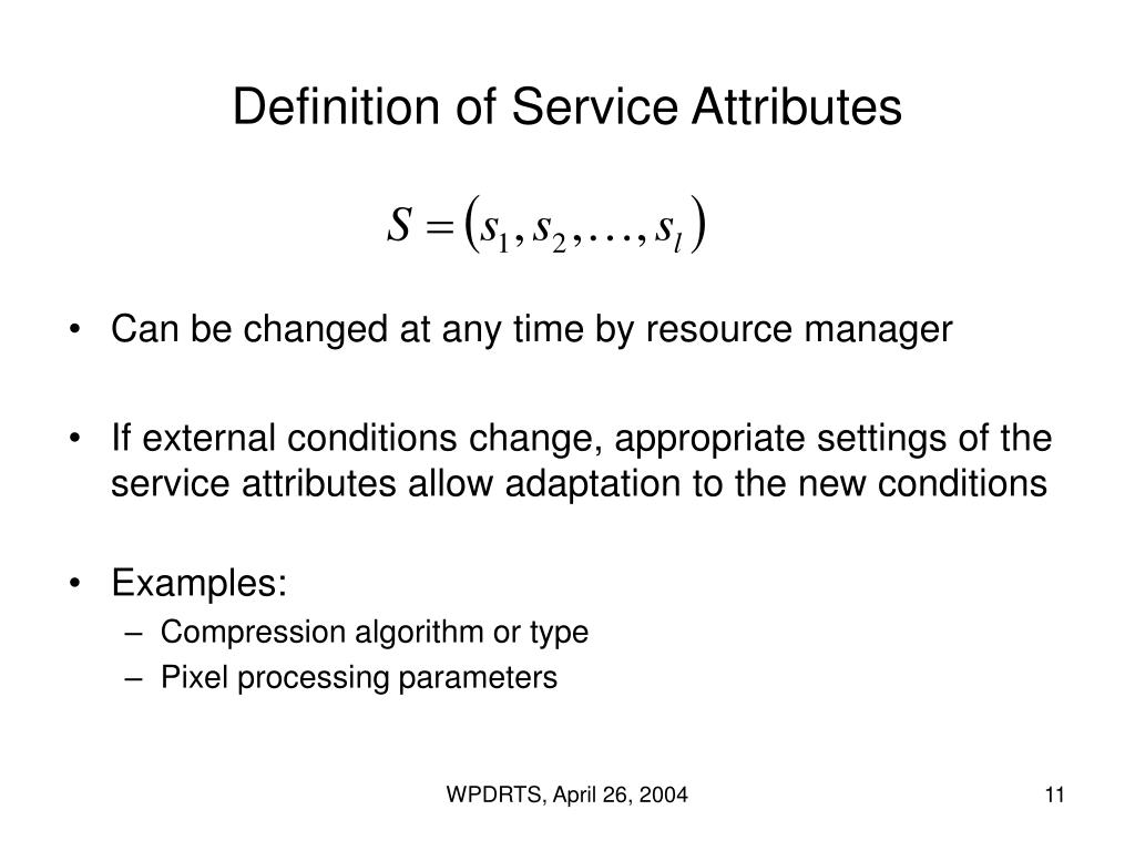 Definition of Service Attributes