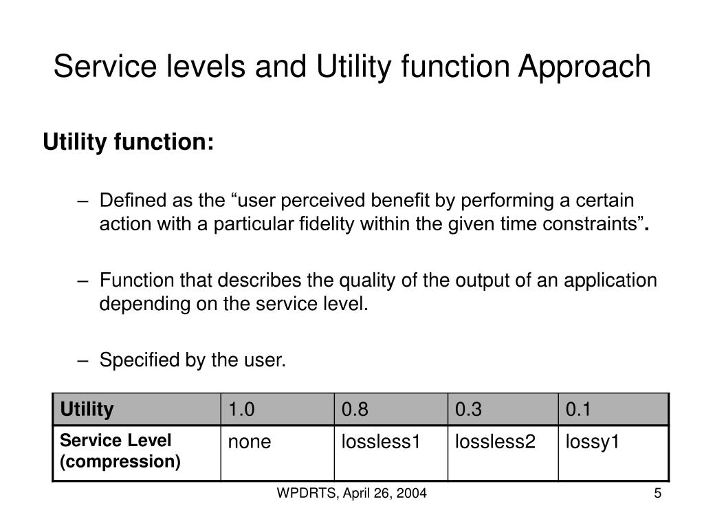 Service levels and Utility function Approach