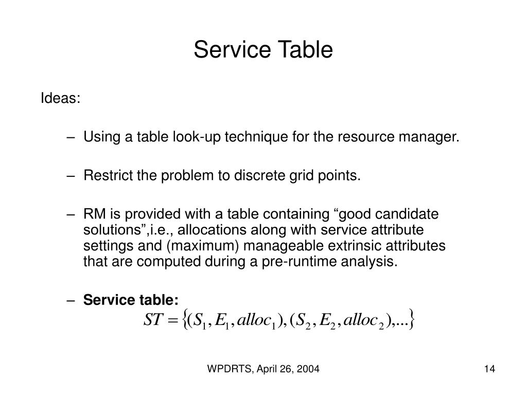 Service Table