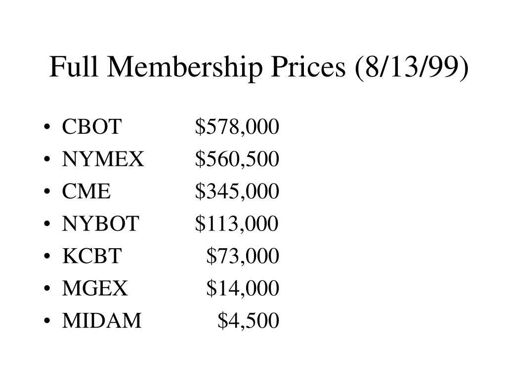 Full Membership Prices (8/13/99)