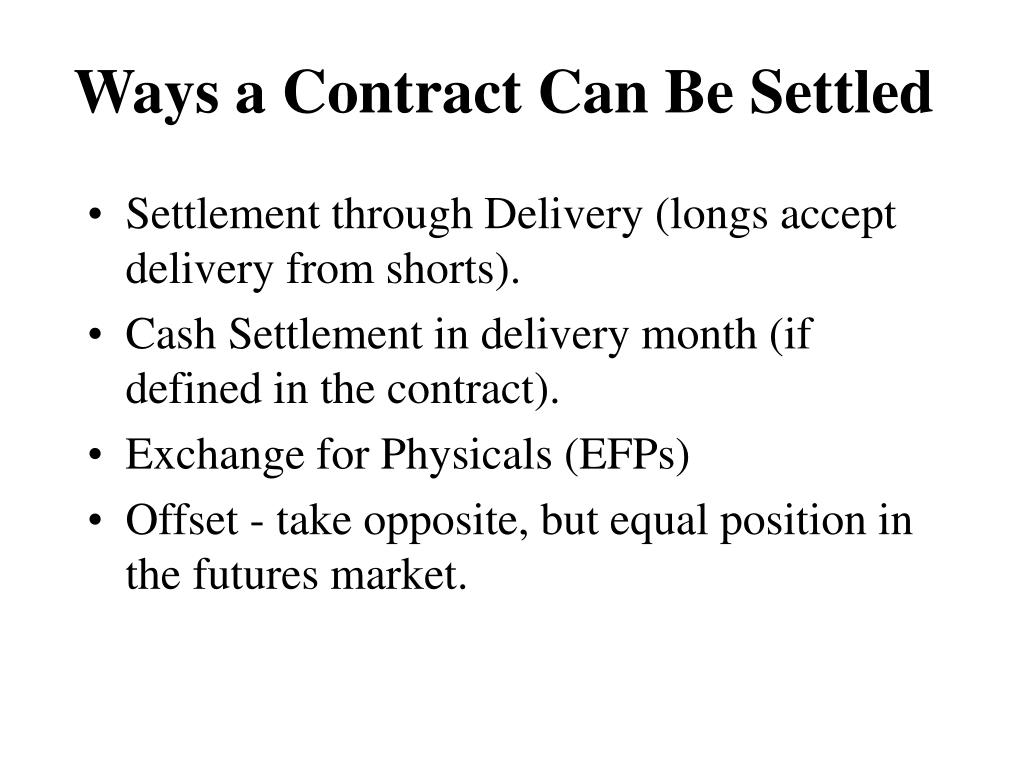 Ways a Contract Can Be Settled