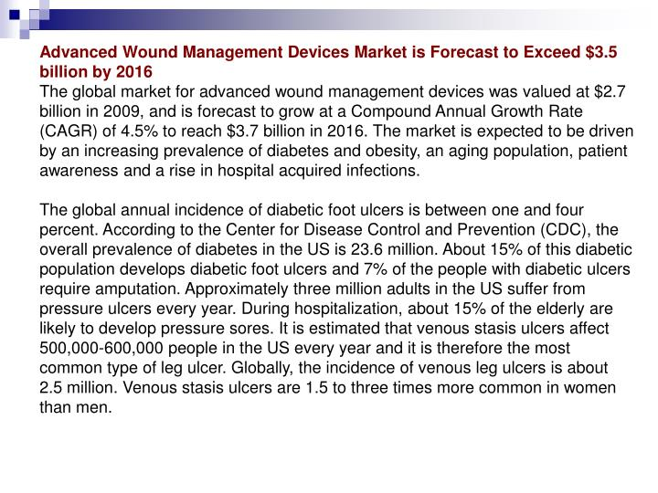 Advanced Wound Management Devices Market is Forecast to Exceed $3.5 billion by 2016