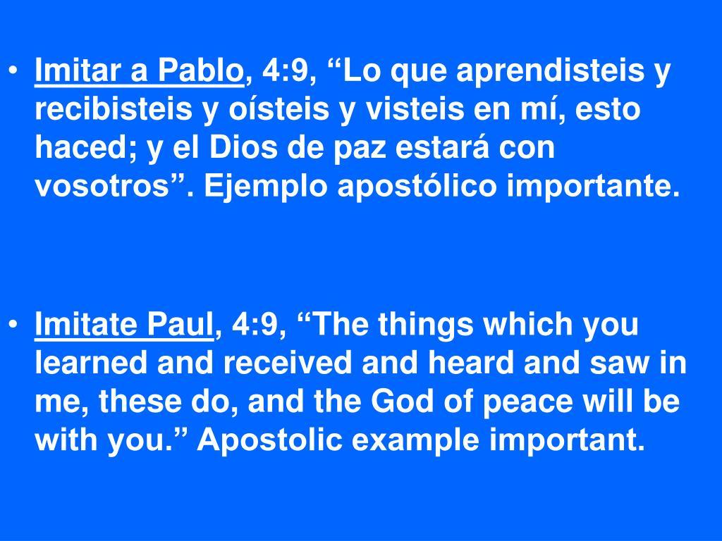 Imitar a Pablo