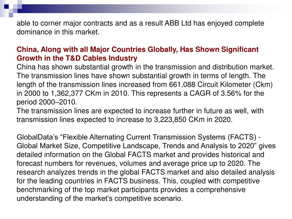 able to corner major contracts and as a result ABB Ltd has enjoyed complete dominance in this market.