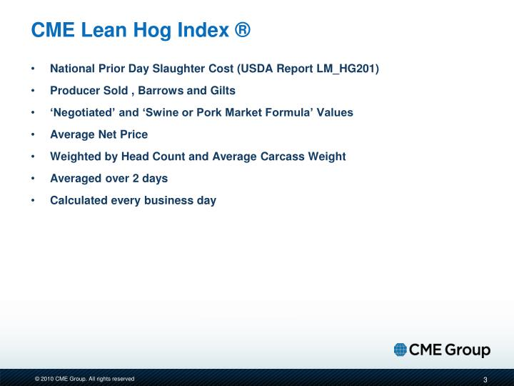 Cme lean hog index