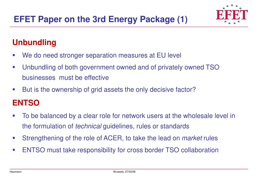 EFET Paper on the 3rd Energy Package (1)
