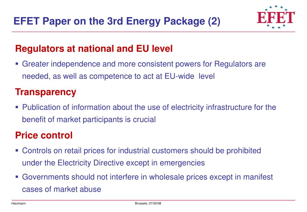 EFET Paper on the 3rd Energy Package (2)