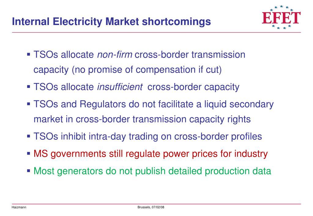 Internal Electricity Market shortcomings